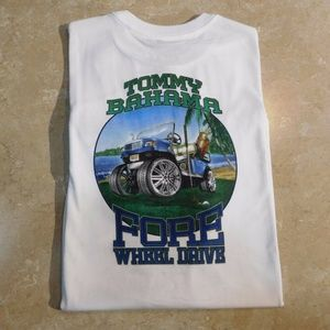 Tommy Bahama White FORE WHEEL DRIVE Cotton Tee
